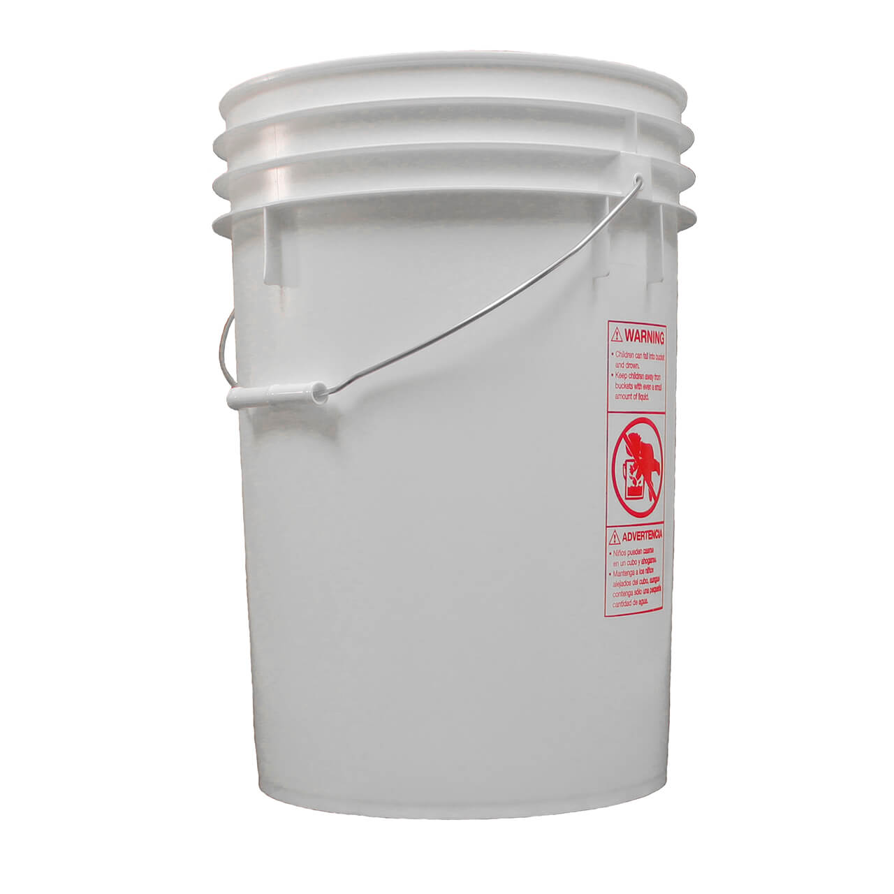 6 Gallon Round White Plastic Pail W Metal Handle P062